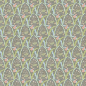 17-04R Vintage Antique Quilt Floral || Pastel Flower Olive Green Sky Blue Blush Peach gray grey yellow _ Miss Chiff Designs