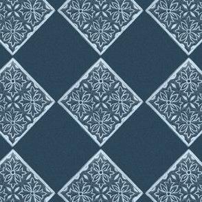 Japanese Fabric Stamp Diamond_indigo