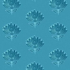 Japanese (Indian) Flower Stamp fabric marine-blue - adj-2012