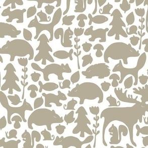 Woodland gathering in grey