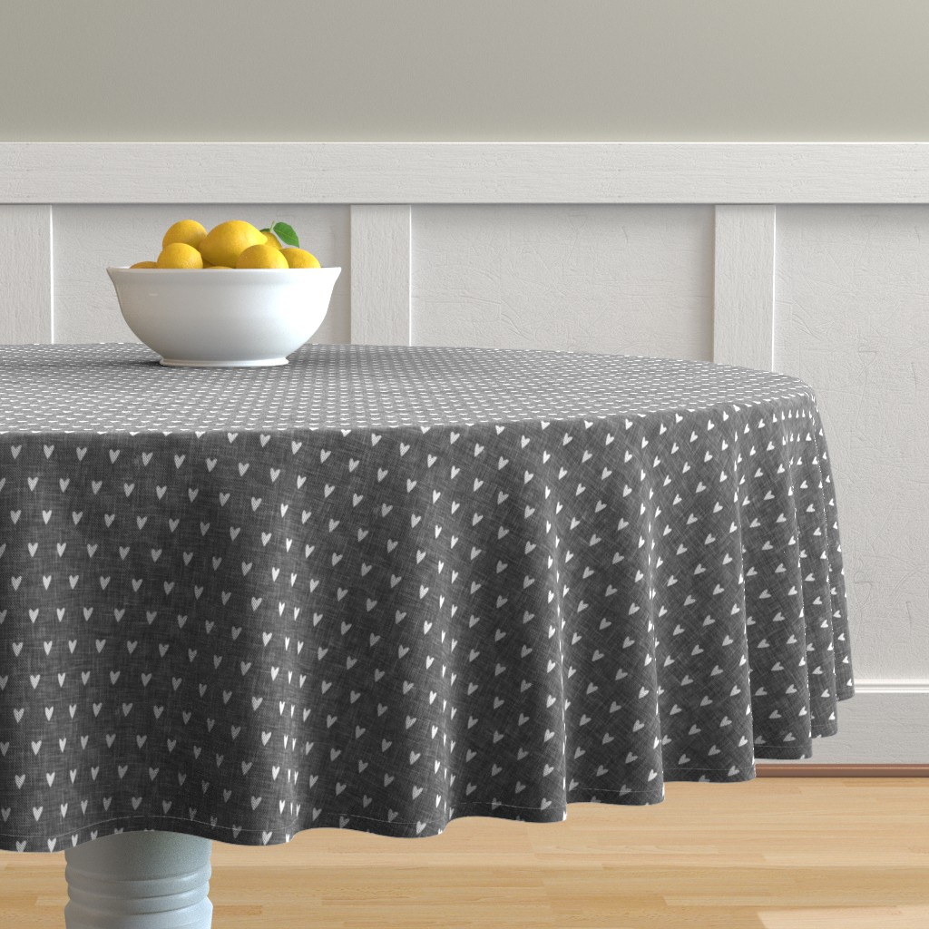 Malay Round Tablecloth featuring hearts on grey linen || valentines day by littlearrowdesign