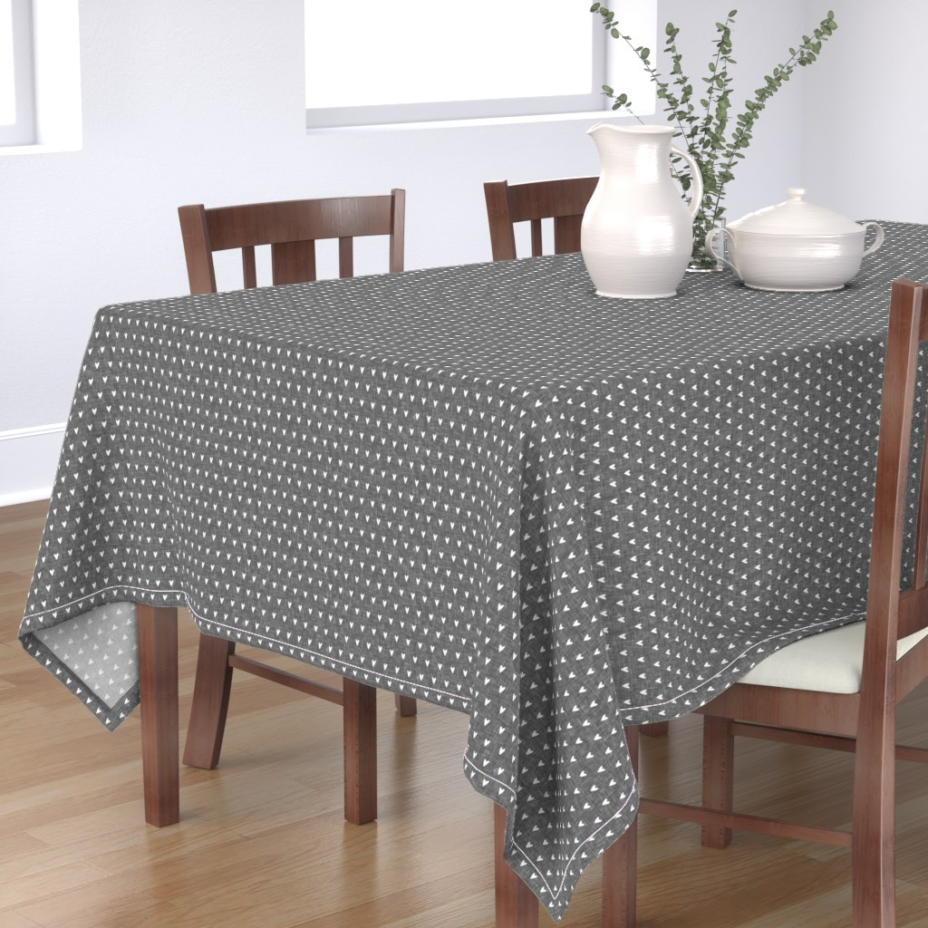 Bantam Rectangular Tablecloth featuring hearts on grey linen || valentines day by littlearrowdesign