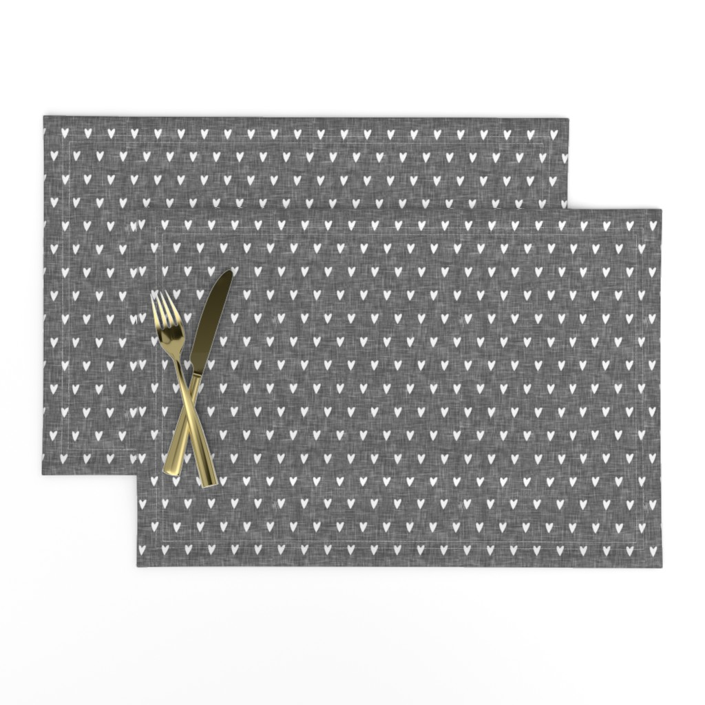 Lamona Cloth Placemats featuring hearts on grey linen    valentines day by littlearrowdesign