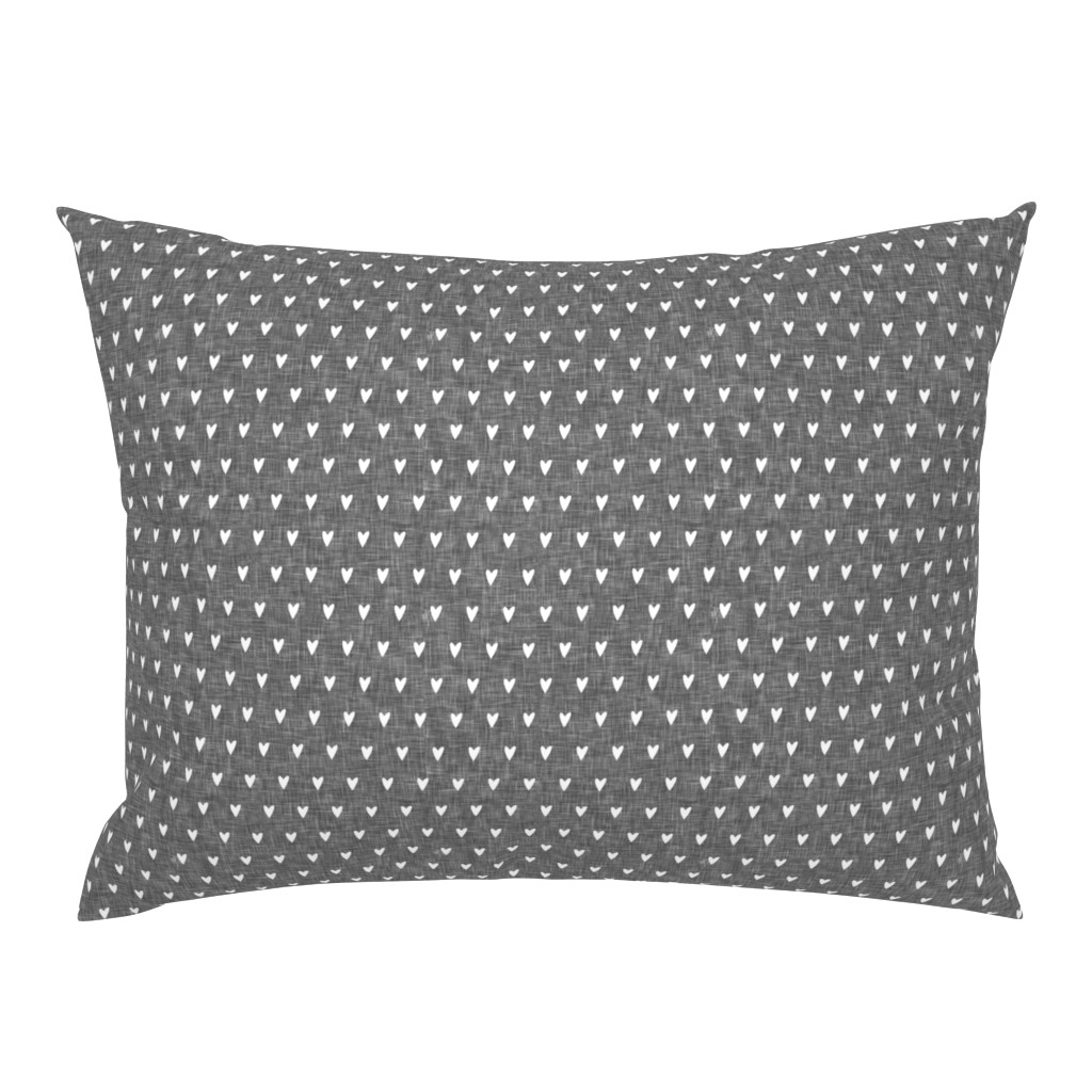 Campine Pillow Sham featuring hearts on grey linen    valentines day by littlearrowdesign