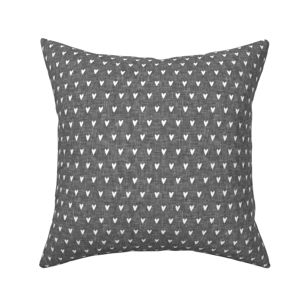 Catalan Throw Pillow featuring hearts on grey linen || valentines day by littlearrowdesign