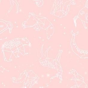 constellations // geometric animal nursery baby design baby pink cute constellations fabric