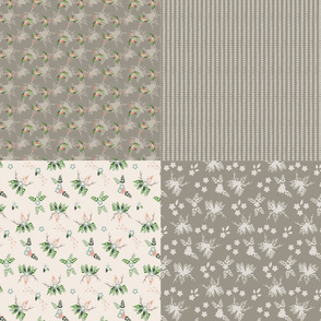 "15-07E Rustic Wedding 42"" Fat Quarters Taupe Ivory Peach Green"