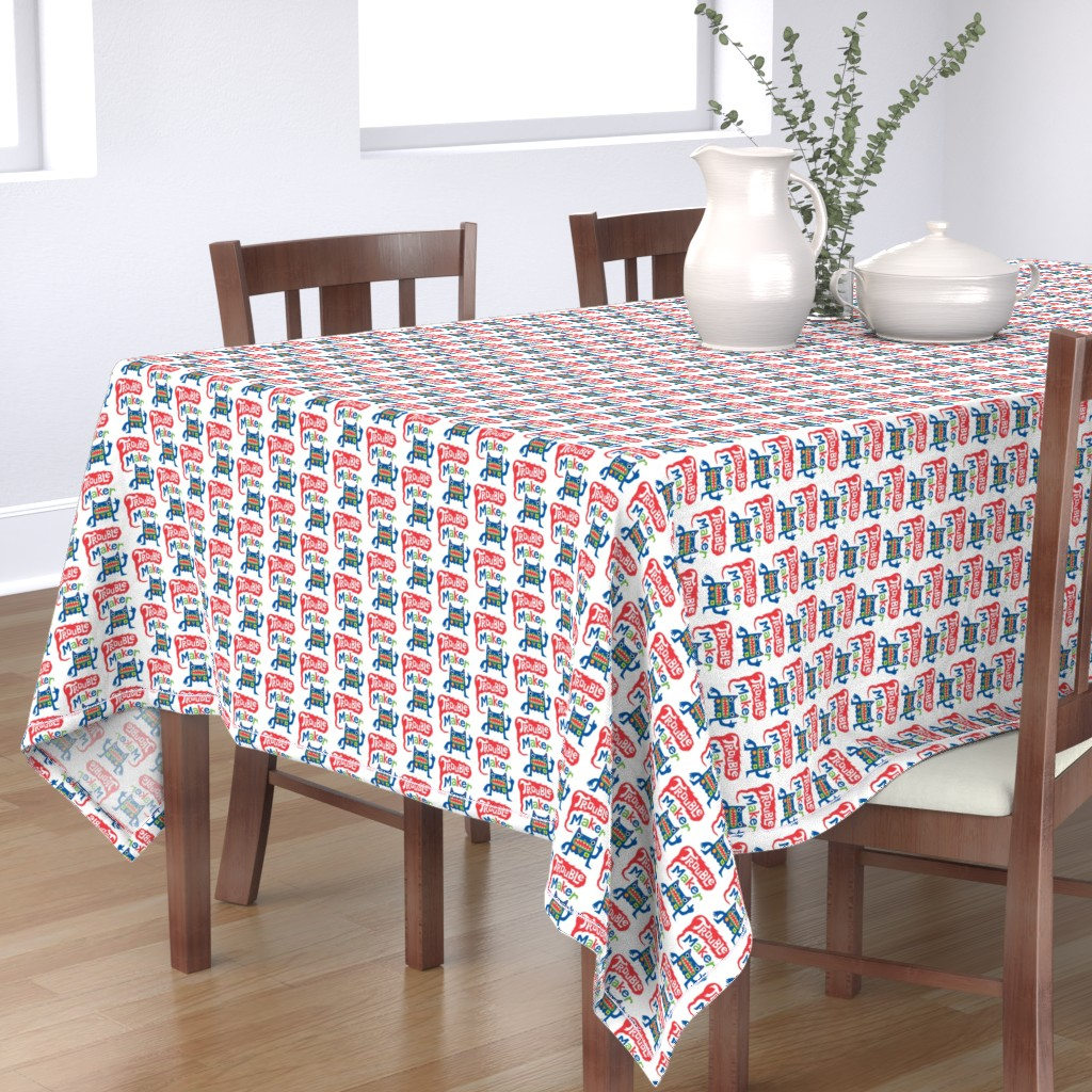 Bantam Rectangular Tablecloth featuring Trouble Maker - Large by andibird