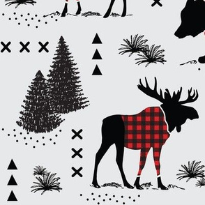 12 inch - Bear, deer and moose - buffalo plaid and forest - grey background
