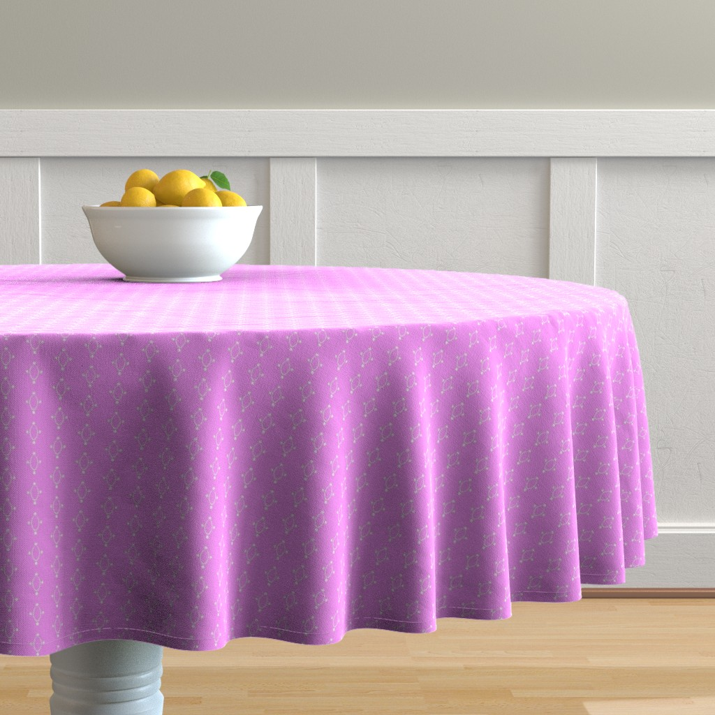 Malay Round Tablecloth featuring Circles and Dots- Purple by essieofwho