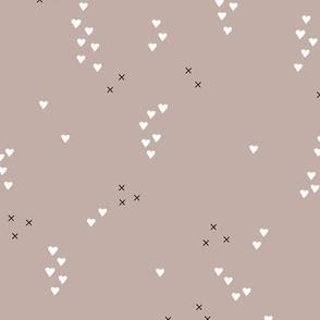 Romantic love and cupid xoxo valentine print biege