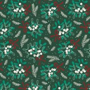 Vintage christmas ditsy mistletoe on dark green