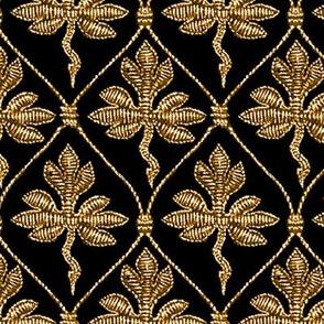 Elizabeth I. Phoenix Portrait Fabric- Black/Gold - No Pearls