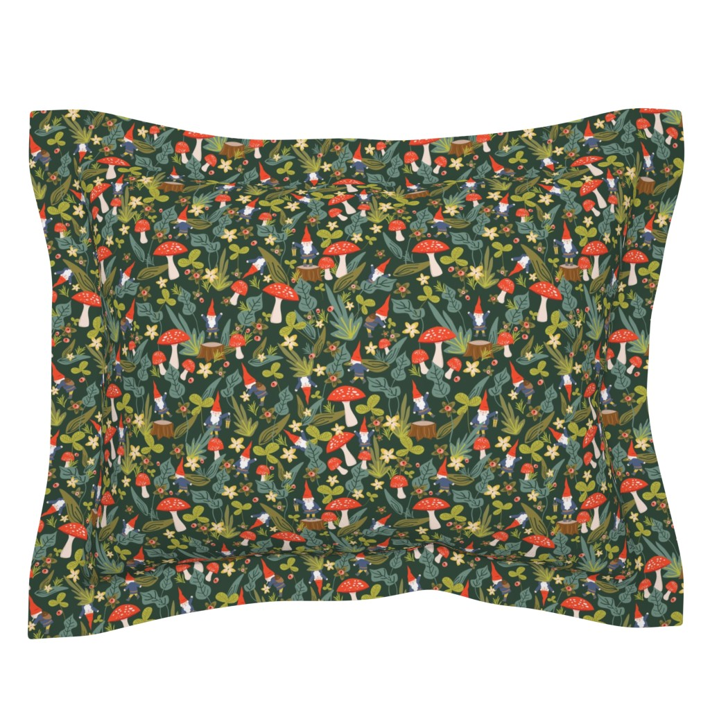 Sebright Pillow Sham featuring Woodland Gnomes by shelbyallison