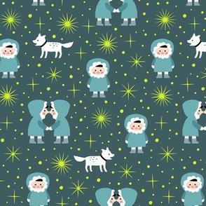 Inuit with northern light stars (dark)