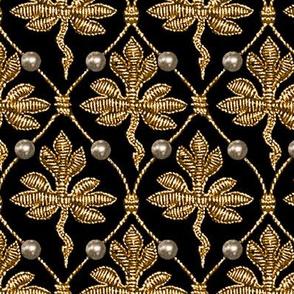 Elizabeth I. Phoenix Portrait Fabric- Black/Gold - With Pearls