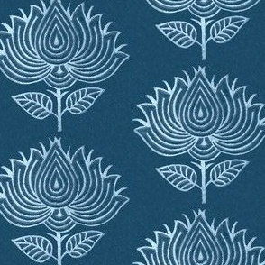 Japanese Fabric Stamp Flower - close - indigo - adj-2012