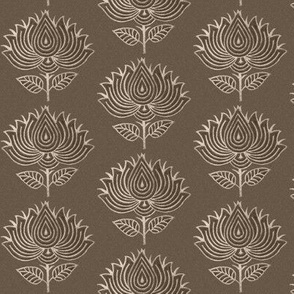 Japanese Fabric Stamp Flower_close_brown