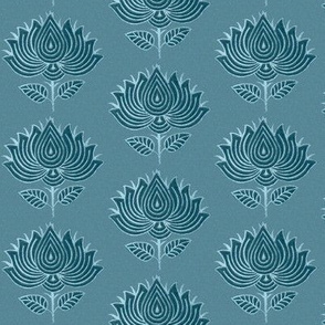 Japanese Fabric Stamp Flower_close_turquoise-blue