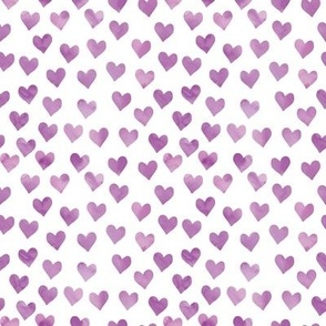 watercolor hearts in purple