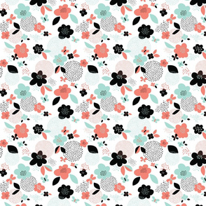 *New* smaller Scattered Flowers // by petite_circus // black and white mint coral peach // cute baby kids nursery //