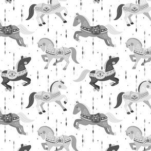 Custom order - Carousel Horses 1 // by petite_circus // black white grey // cute kids baby nursery //