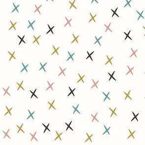 crosses stars mustard coral aqua
