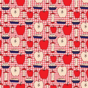 16-13AN Apple Pie SMALL Red White Blue Teacher 4th of July Gingham Check Fruit_Miss Chiff Designs