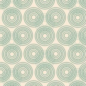 17-04Q Vintage Antique Quilt Circles || Abstract Dots Spots Pastel Cream Green _ Miss Chiff Designs