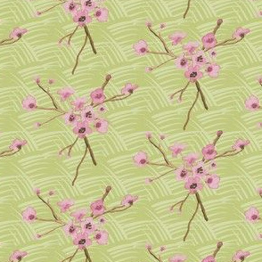 17-04F Vintage Antique Quilt Cherry Blossom Green || Pink Brown Grass Floral Tree _ Miss Chiff Designs