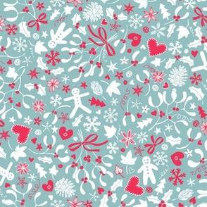 Mistletoe & Gingerbread Ditsy - pink & dove grey