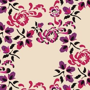 16-16A Asian Floral in pink purple on cream_Miss Chiff Designs