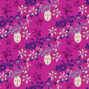 17-03D Kabuki Floral Faces on Pink_Miss Chiff Designs