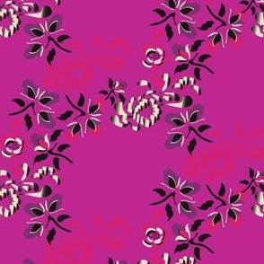17-03C Japanese Floral Trellis on Hot Pink_Miss Chiff Designs
