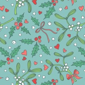 Romantic mistletoe and holly