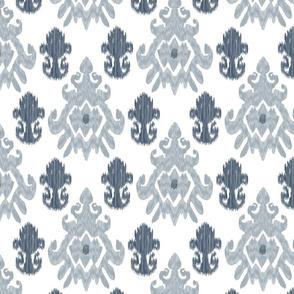 17-11M Modern Ethnic Tribal Ikat || Large Indigo Blue Gray Grey Silver White _ Miss Chiff Designs