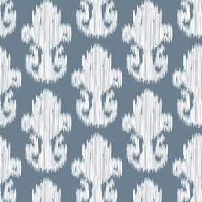 17-11L Ikat White Slate Indigo Slate Blue Gray Grey  || Large Scale  Texture Tribal_Miss Chiff Designs