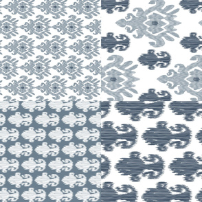 "17-11J  54"" Fat Quarter Tea Towels || Ikat Indigo Blue Gray Grey Silver _Miss Chiff Designs"