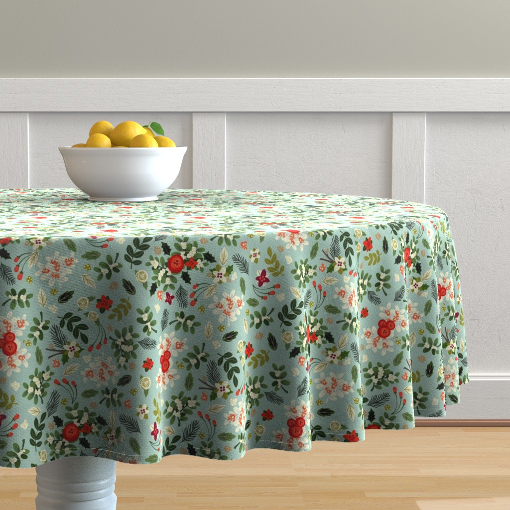 Malay Round Tablecloth featuring Vintage Ditsy Mistletoe by ginamayes