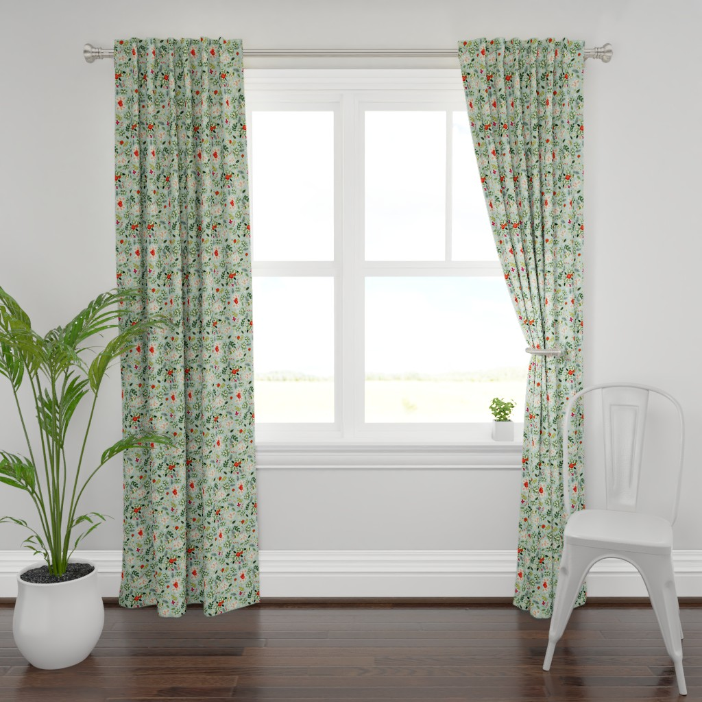 Plymouth Curtain Panel featuring Vintage Ditsy Mistletoe by ginamayes