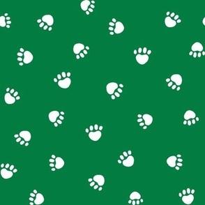 paws // christmas green paws fabric dog paw design pets