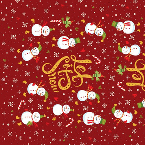 Tea Towel-Festive Snowmen Red