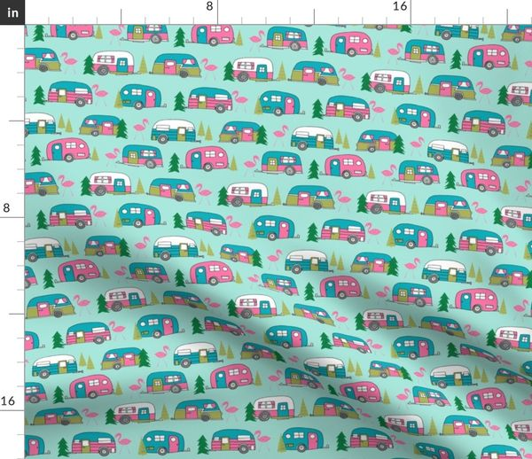 85745432a702 Fabric by the Yard vintage camper // mint and pink vintage campervan fabric  cute retro flamingo pattern print andrea lauren design
