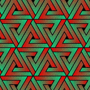 Grunge Key Triangles - Teal & Red