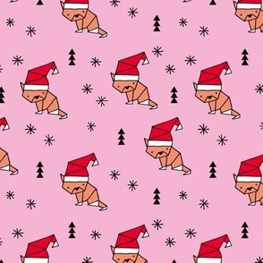 Christmas kitten origami cat with a santa hat happy holidays fabric pink girls