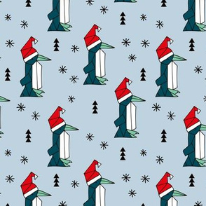 Christmas penguins origami penguin with a santa hat happy holidays fabric blue boys