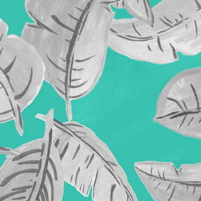 Turquoise Grayscale Jungle Leaves by The Prime Floridian
