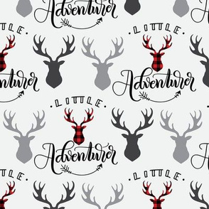 Little adventurer - 6 inch - Deer heads - buffalo plaid