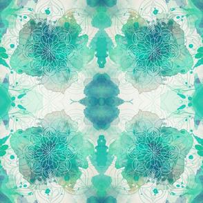 Watercolor Mandala Green Blue Teal Fabric