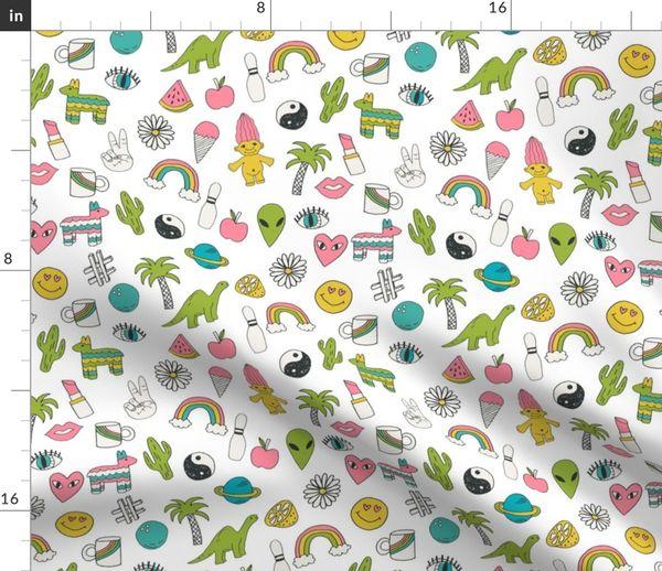 Fabric by the Yard patches // 90s nostalgia print 90s retro print aliens  dinosaur kids fabric cute kids design